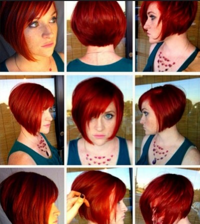 Short straight hairstyle with bangs for red hair