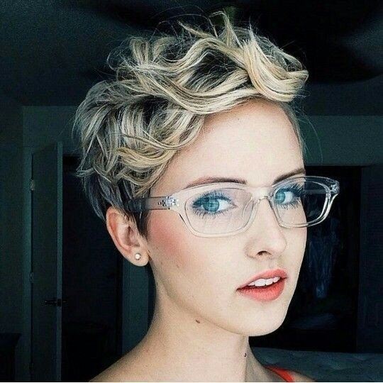 Trendy short curly pixie haircut