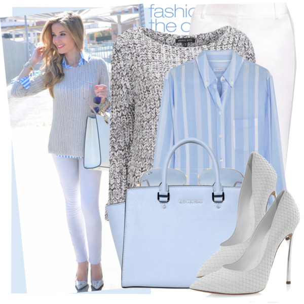 Serenity White Striped shirt and bag