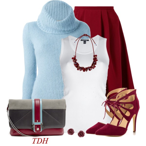Serenity turtleneck and red flared skirt