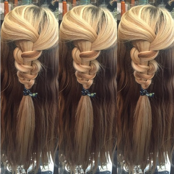 Simply braided half up half down hairstyle