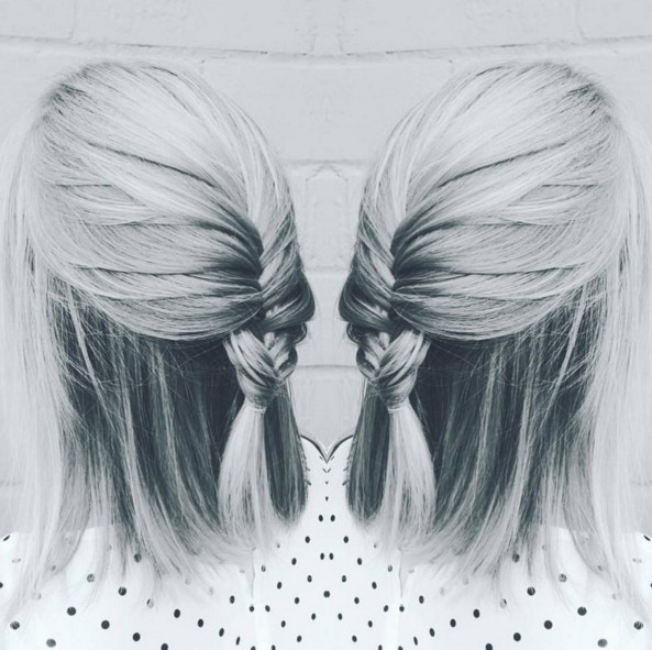 Half Up Half Down hairstyle for shoulder length hair