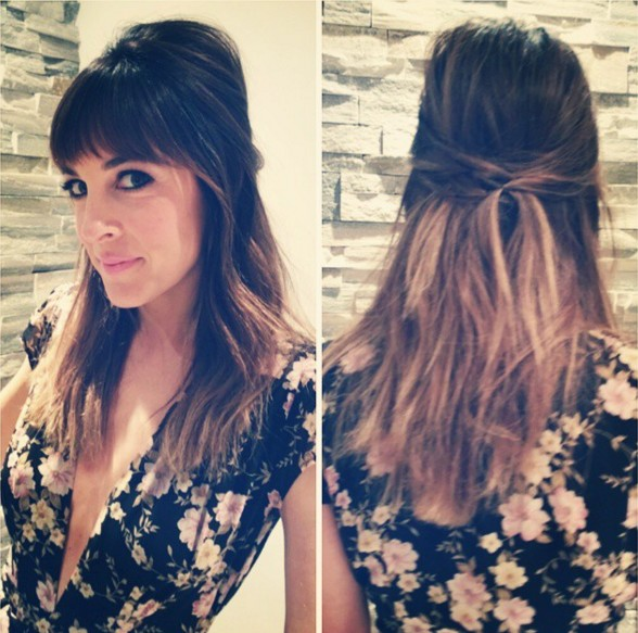 Half Up Half Down Hairstyle for Ombre Hair