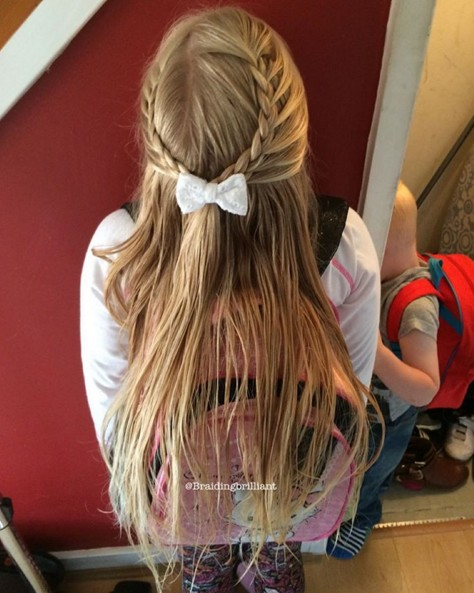 Cute braid half up hairstyle for kids