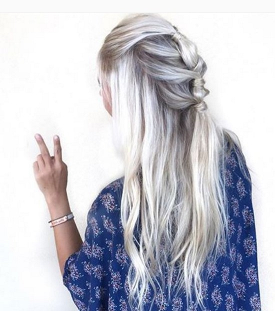 Knotted half up half down hairstyle