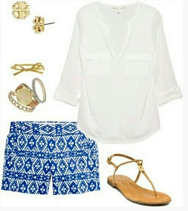 Sweet spring outfit, white blouse, shorts with aztec pattern and brown sandals
