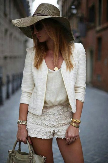 White outfit, white blazer with hot lace shorts