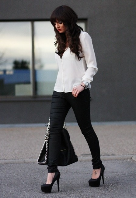 White and black outfit, white shirt with black skins