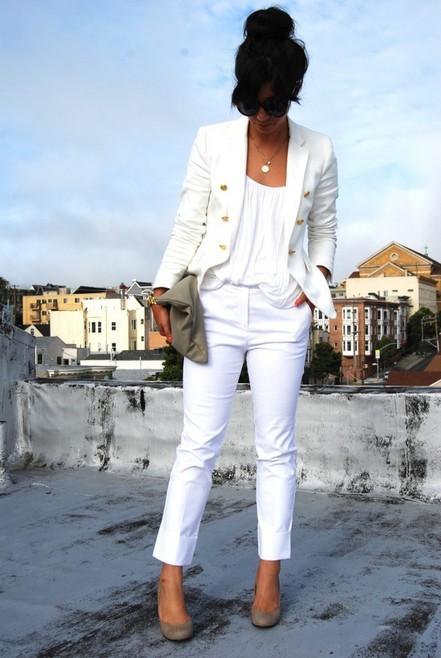 White outfit, sheer white pantsuits with white tank top