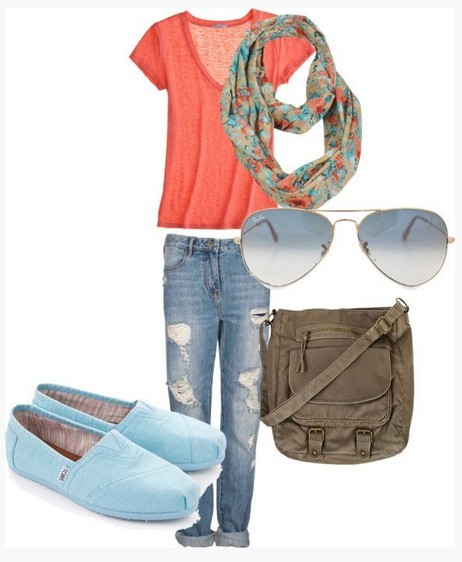 Sweet spring outfit, coral knit top, destroyed jeans and mint flats