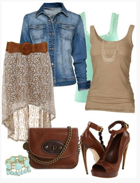 Brown spring outfit, denim jacket, fishtail dress and brown pumps