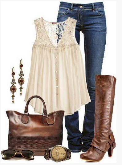 Brown spring outfit, pink embroidered top and brown knee-length boots
