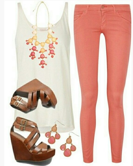 Sweet spring outfit, white tank top, bright pink skinnies and wedges