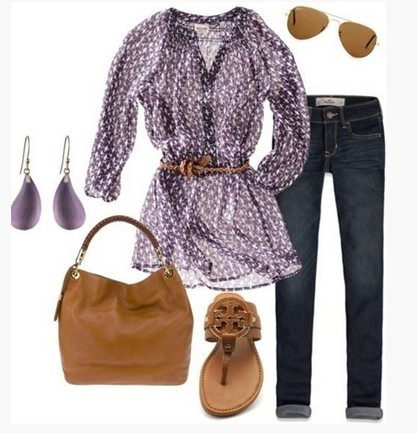 Sweet spring outfit, blouse with animal motif and brown sandals