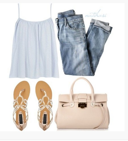 White spring outfit, denim jacket, white dress and sandals