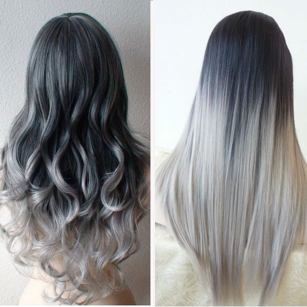 Long gray ombre hairstyle
