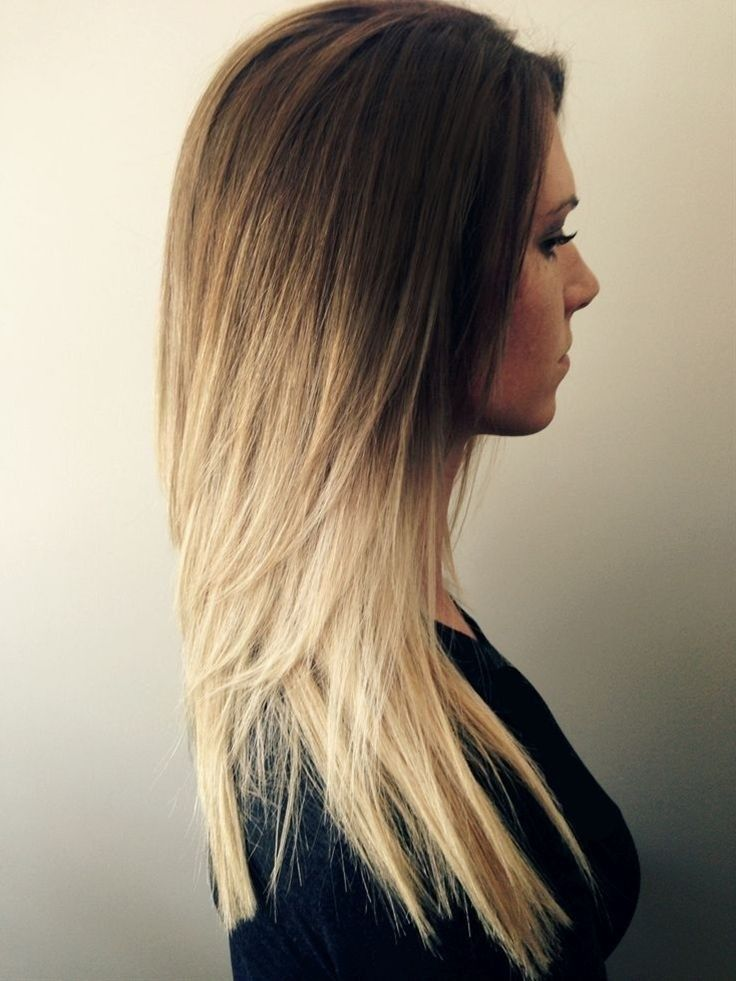 Long straight hairstyle for ombre hair
