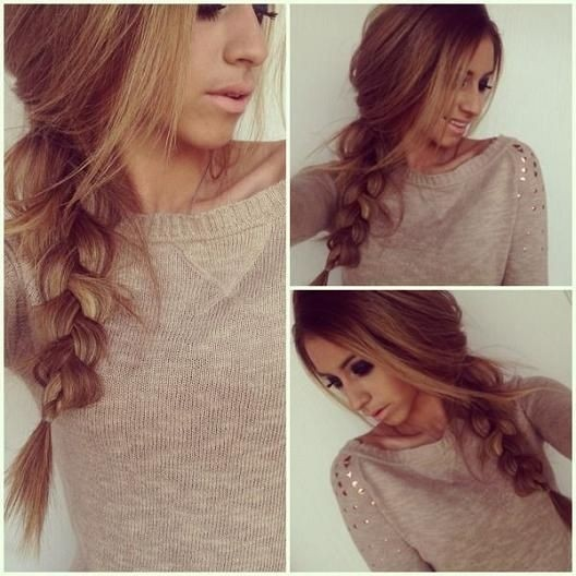 Braided ponytail hairstyle for thick hair