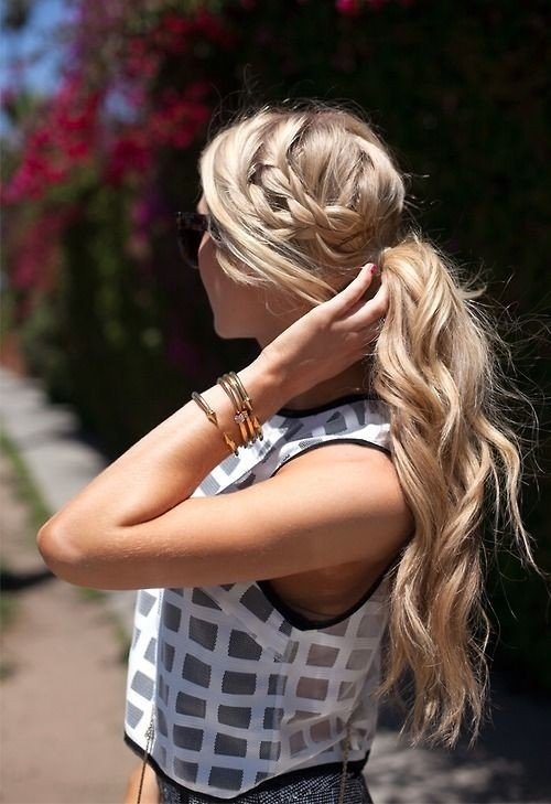 Ponytail with braid for summer hairstyles