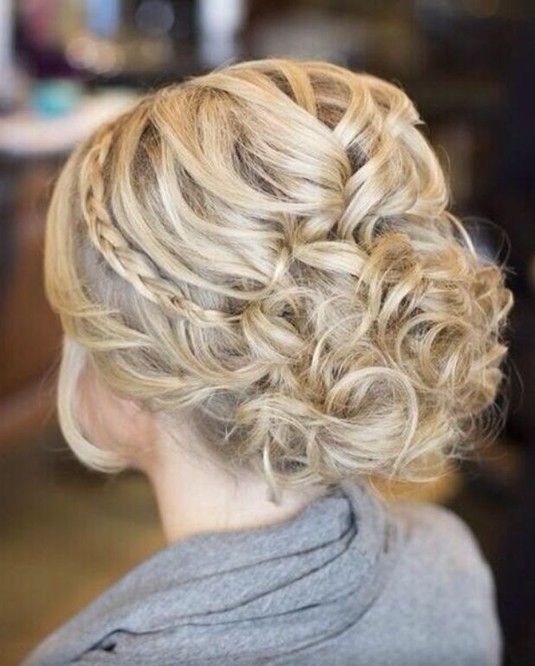 Messy Braided Updo Hairstyle for Blonde Hair