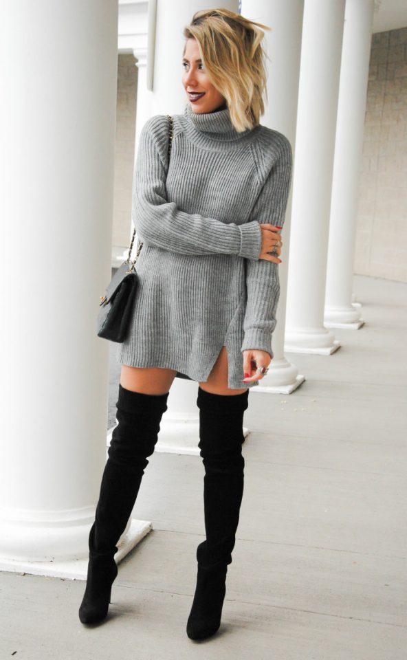 Turtleneck sweater dress and black boots over