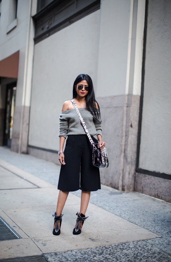 strapless gray sweater over