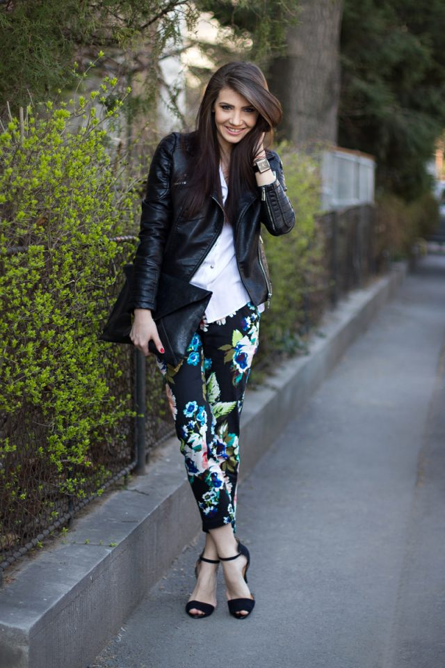 Leather jacket and flower pants via