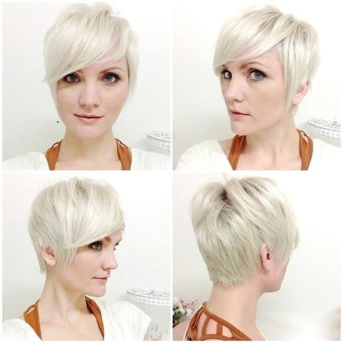 Pixie haircut with side bangs for blonde hair