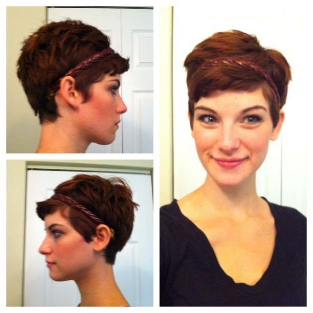 Pixie hairstyle with headband