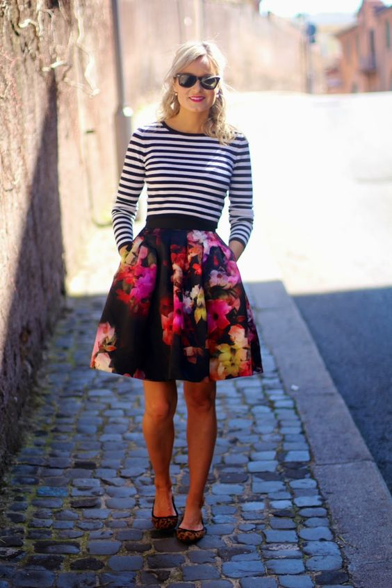striped top floral skirt via