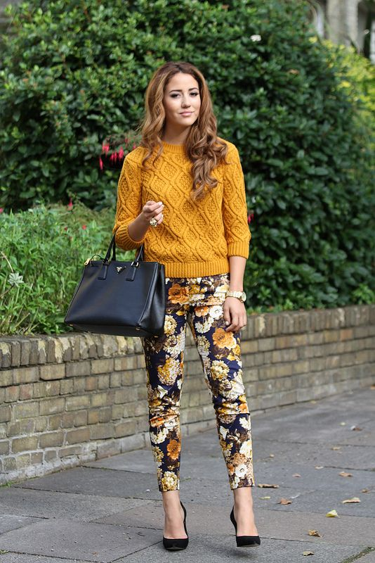 Mustard sweater and flower pants via