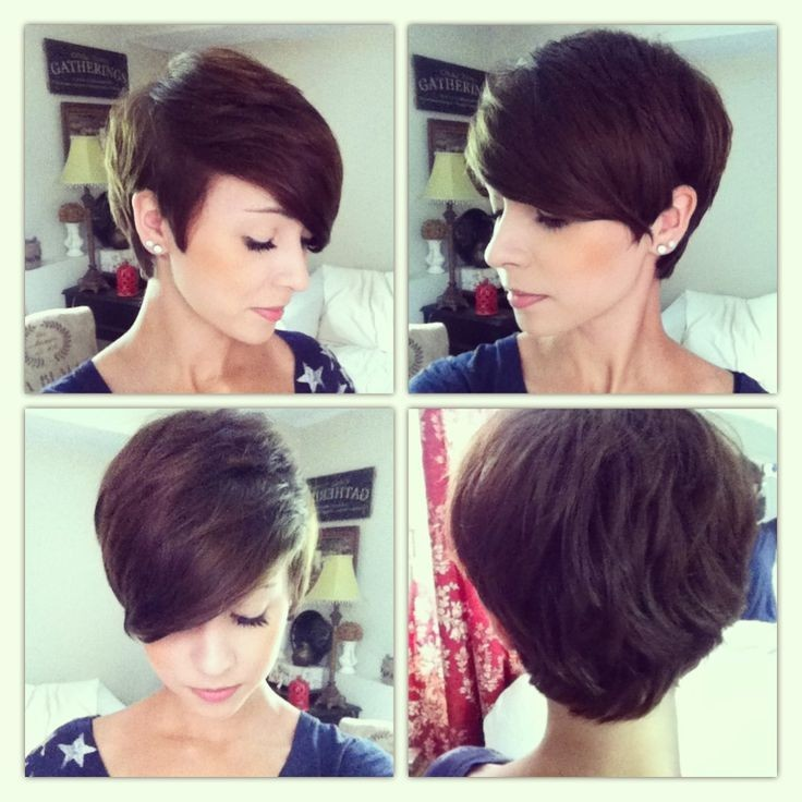 Wavy pixie haircut with side bangs