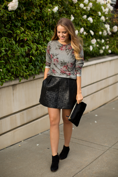 Deep-floral top-and-leather skirt over