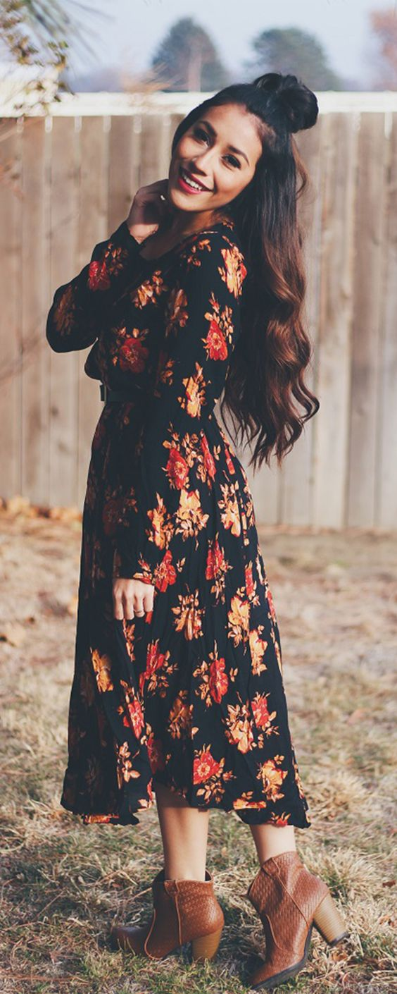 Floral dress and boots over