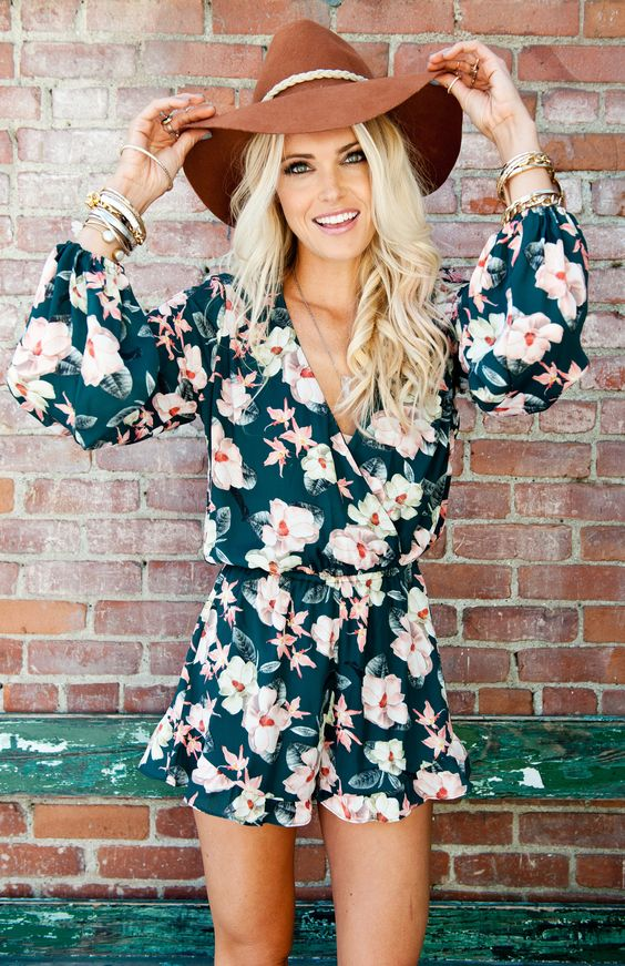 Long sleeve floral overalls via