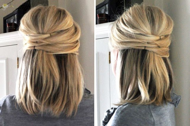 Pinned hairstyle for medium straight hair