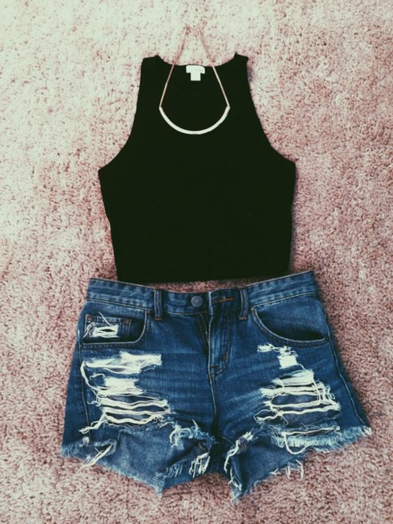 Simple top and cut-out shorts over
