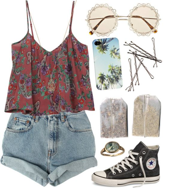 Floral top and rolled shorts over