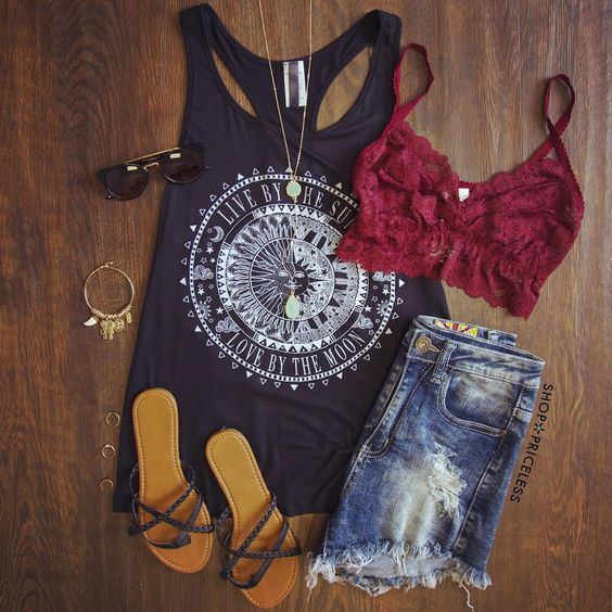 Tank top, cut out jeans and sandals over