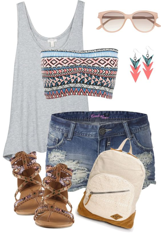 Gray top and torn shorts over