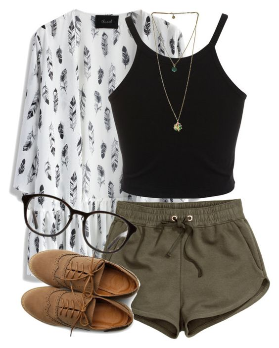 Black top and dark green shorts over