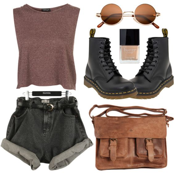 Brown crop top and black shorts over