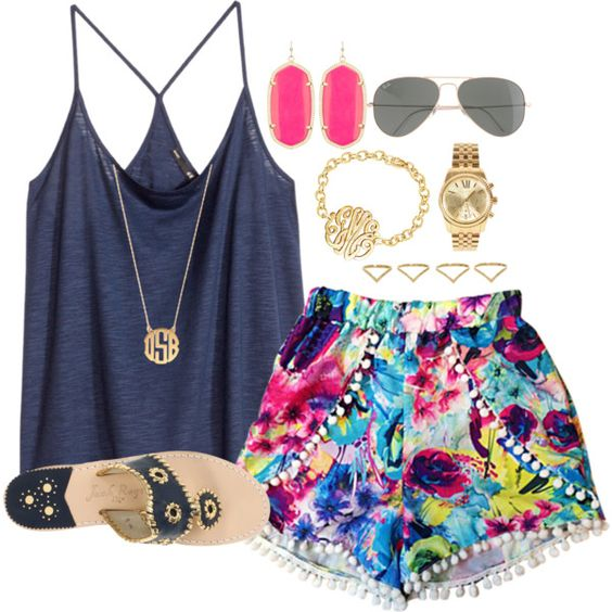 Blue top and floral shorts over