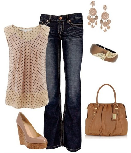 Polka dot top, bright and bare wedges
