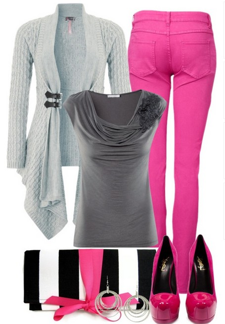 Casual cardigan, bright pink skinnies and pumps