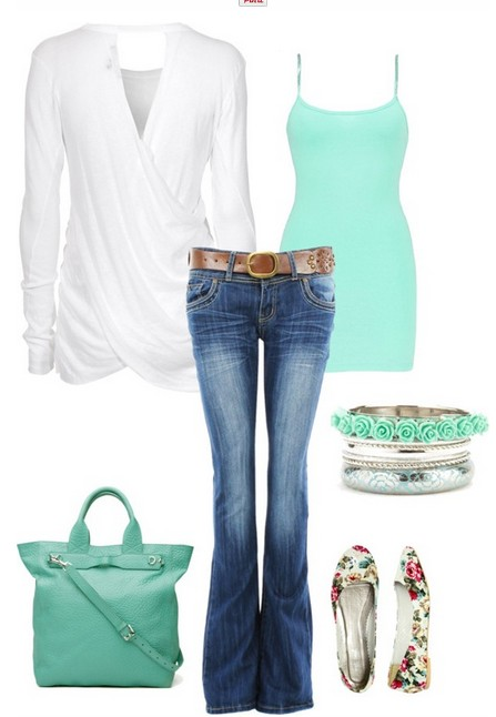 Casually designed white cardigan, jeans., Light blue top and flats