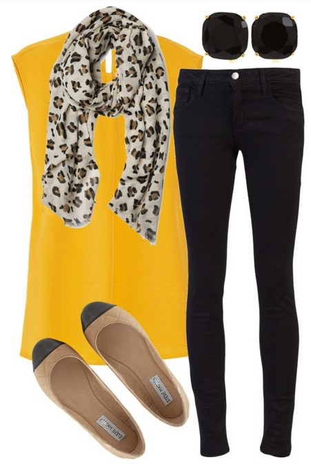 bright yellow blouse, skinnies and flats