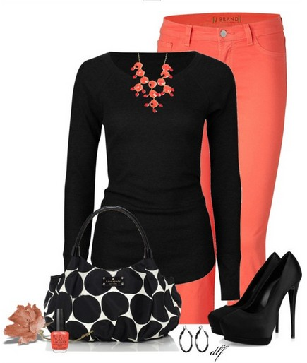 black knitted top, orange tubes and black pumps