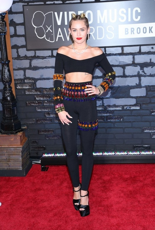 Miley Cyrus long sleeve crop top with jewels by Dolce Gabbana