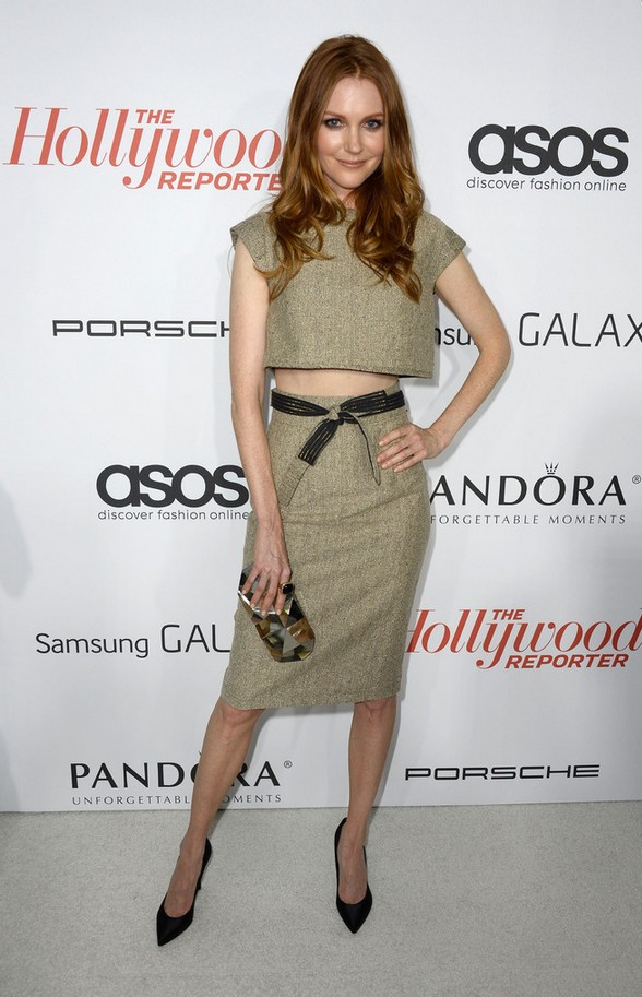 Darby Stanchfield beige crop top with matching skirt